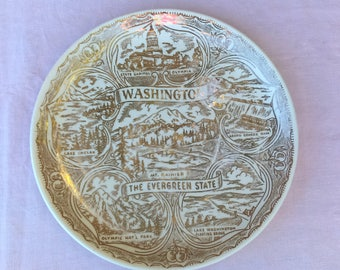 Vintage State Souvenir Plate Washington the Evergreen State: Collectible, State Memorabilia, Gallery Wall
