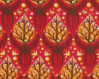Birds and Bees Tula Pink Timeless, Tree of Life in Cinnamon fabric, PWTP025.CINNA /Fabric Canada/ half yard