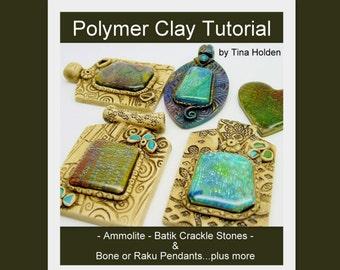 Ammolite, Batik Veneers &  Pendants - Polymer Clay Tutorial - Digital PDF File