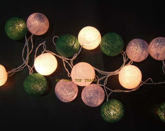 mixed 20 White-Green-Gray cotton ball string lights for Patio,Wedding,Party