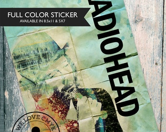 Radiohead Sticker Large Thom Yorke Illustration Grunge Art Decor