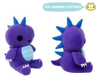 Dinosaur Plush Pattern, Dinosaur Stuffed Pattern, DIY Dinosaur Toy, Goth Plush Sewing Pattern, T Rex Pattern, Stuffed Dinosaur, Dinosaur PDF