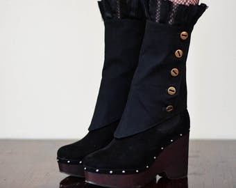 Steampunk Gothic Button Boot Cover Spats Pirate Costume Accessories Burning Man