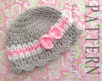Baby Hat Crochet PATTERN, Baby Girl Hats PATTERN, Crochet Bow Pattern, Toddler Crochet Hat PATTERN