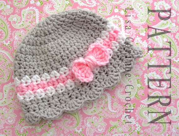 Baby Hat Crochet Pattern Baby Girl Hats Pattern Crochet Bow
