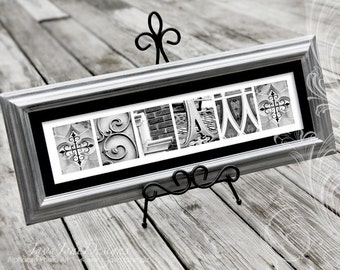Silver Wedding Frame Name, Silver Anniversary, Framed Name Art, Architectural Photos, Personalized Last Name, Silver Frame Wedding Gift
