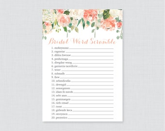 Peach Floral Bridal Shower Word Scramble - Printable Peach and Cream Flower Bridal Shower Game - Shabby Chic Garden Bridal Shower Game 0028