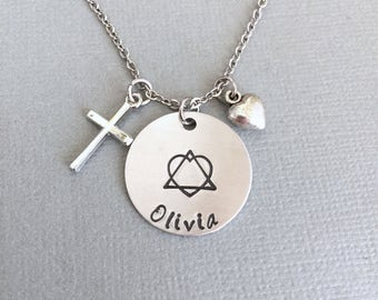 Personalized Adoption Necklace, Name Necklace, Cross Necklace, Adoption Gift, Heart Charm, Adoption Jewelry