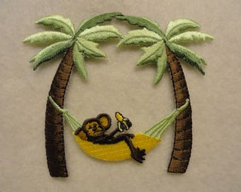 Monkey eating a banana on a hammock  Patch - FREE Shipping
