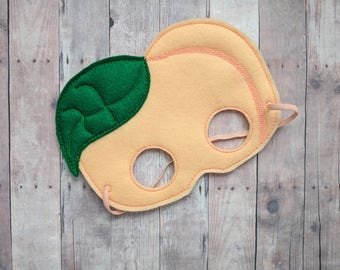 Peach Felt Mask, Elastic Back, Blush and Green Acrylic Felt with Embroidery, Halloween Costume, Photo Booth Prop, Fruit Mask, Made in USA