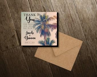 Sweet Summer ~ Palm Tree Magnets, thank you, personalized, retro, summer wedding, wedding favor, wedding palm trees + Envelopes