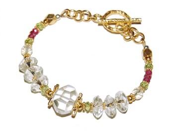 Pink Tourmaline, Peridot, clear Quartz, and colorless Sunstone beads; Fine Gemstone Beaded Vermeil Bracelet