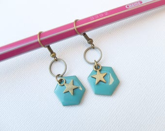 Star and sequin turquoise enamel Hexagon earrings