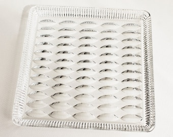 A so 70's Vintage glass Tray   Glass Serving plate   kinetic pattern   Germany - GDR