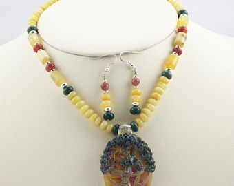 Tree of Life Lampwork Focal Bead Necklace Set, Colorful Fancy Jaspers, Opal