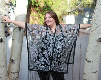 Black Rose Burn Out Velvet Shawl Top