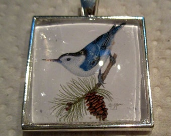 Nuthatch Pendant or Scarf Slide, scarf jewelry, scarf ring