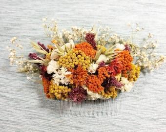 Autumn large Dried Flower Hair Comb- Handmade, Bridal, Wedding, Rustic, Natural hair piece