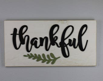 Thankful Sign, Cursive Thankful Sign, Rustic Thankful Sign, Thankful Wall Art, Gift For The Couple, Housewarming Gift, Script Thankful Sign