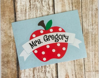 Monogram Apple Decal | Teacher Monogram Decal | Monogram Apple | Teacher Gift | Yeti Sticker | Yeti Decal | Apple Name Decal | Laptop Decal