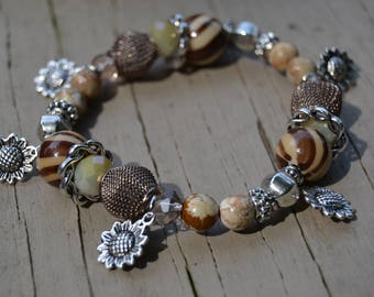 JASPER EARTHTONE BEADS Daisy Charms Stretch Bracelet Browns and Tans