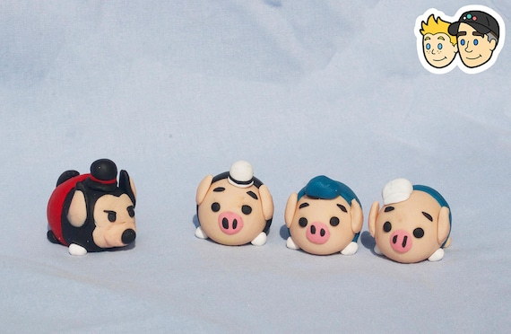 Description These Four Figures Are Inspired By Disney Tsum Tsums And The Short Three Little Pigs