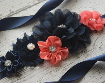 Flower Sash, navy coral Sash, flower Belt, maternity sash, wedding sash, maternity sash girl, flower girl sash, gray sash