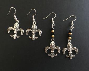Fleur De Lis Earrings New Orleans Saints NOLA Silver Fleur De Lis Earrings avail with or w/out Saints Colors Beads Louisiana Saints Jewelry