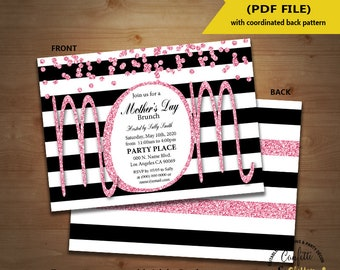 Mother's Day celebration invitation pink black white stripes Mother day brunch invite Instant Download YOU EDIT TEXT & print yourself 5821