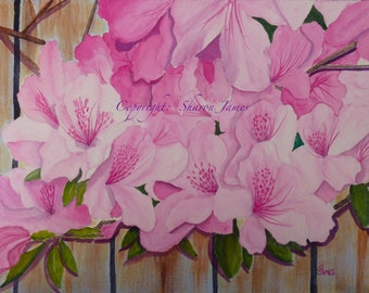 Azalea Riot - Original acrylic painting 10 x 14 inches, by Sharon James