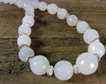 White Onyx & Sterling Graduating Necklace, Bridal Necklace, Onyx Choker, White Necklace
