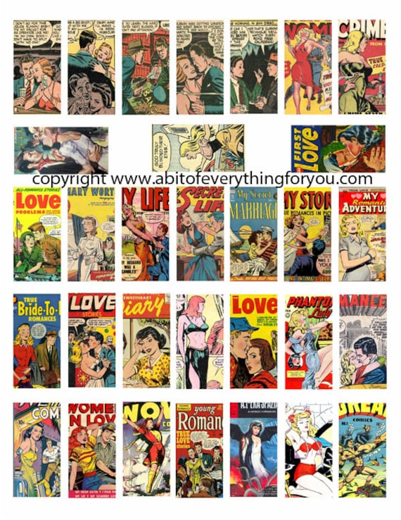 "vintage comics art clipart romance men women digital download domino collage sheet 1"" x 2"" inch comic book graphics images printables"