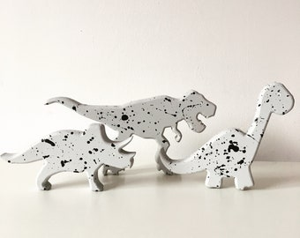 Wooden Dinosaur Decor Monochrome Grey Splatter Effect