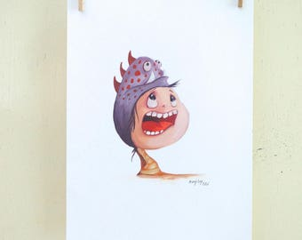 "original illustration ""Hat 04"" (oil on paper painting)"
