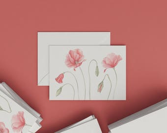 Botanical card with aquarelle illustration | Papaver II. | Postcard | Botanical Card | Watercolour | Stationery