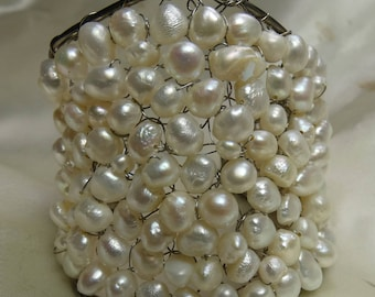 """Beautiful Artisan hand made fresh water Pearl Cuff Bracelet- 55 grms- 2.5"""" wide in front- 6.5"""" end to end-2247"""