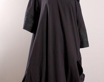 Asymmetric Gray Dress /Oversize Dress/Baggy Jeresey Dress/Lagenlook Dress/Women Formal Clothes/Drape  Loose Layered Dress /High Collar Dress