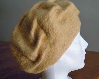 Handmade felted hat beret lite yellow merino wool