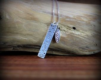 Sterling silver surfs up necklace,  surfers necklace