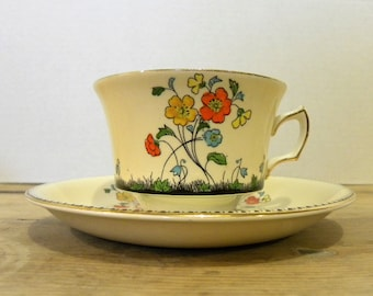 """Cup and Saucer, Pattern, """"Spring"""", Hand Painted, Grimwades, Royal Winton Ivory, England"""