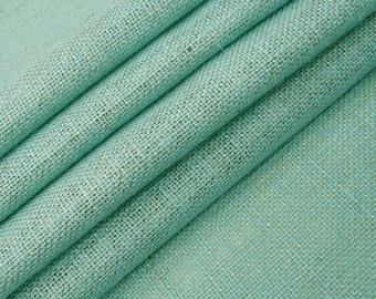 "Sea Green Burlap, Natural Fabric, Sewing Crafts, Upholstery Fabric, Sea Green Jute Fabric, 50"" Inch Jute Fabric By The Yard ZJC3A"