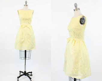 60s Dress Mini XS / 1960s Yellow Lace Formal Day Dress / The Sunshine Fock