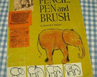pencil, pen and brush, vintage 1961 children's art book