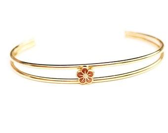 Brown Flower Cuff Bracelet