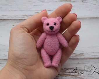 Pink teddy bear Little bear Needle felted  Miniature bear Teddy Bear Photo Prop Newborn Photo Prop Tiny Teddy for photo set Toy for newborn