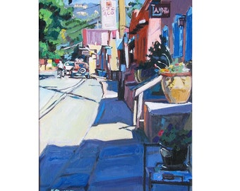 "Southwestern Painting Santa Fe Art, New Mexico Southwest Painting 8x10, ""Canyon Road in Santa Fe"", Print by Gwen Meyerson"