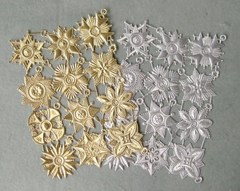 German Dresden Foiled Paper Fancy Medallion Ornaments Gold or Silver Sheet (1 sheet of 12 pieces)