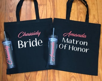 Set of 2 - Bridesmaid Tumblers - Bridesmaid Gift - Bridesmaid Tote Bags - Bridesmaid Tote and Tumbler Set - Bridal Party Gift - Wedding Bags