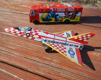 Vintage Tin Toy Airplanes 1960s New Old Stock 2 Different