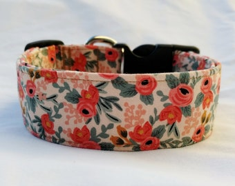 Personalized Collar-Embroidered Collar-Rifle Paper-Peach Floral-Buckle or Martingale Dog Collar- Flower Collar
